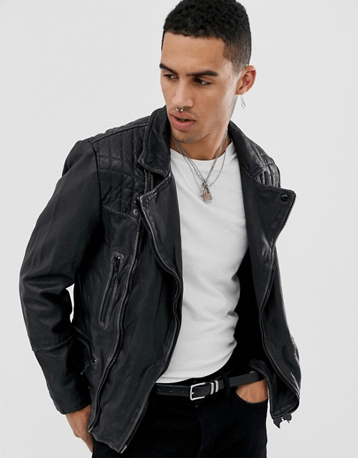 all saints cargo leather jacket