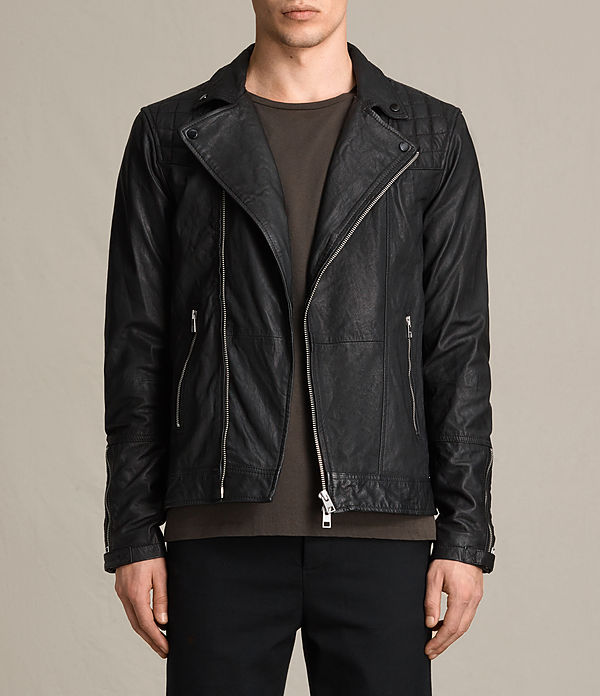 all saints leather jacket men's